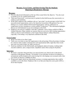 respiratory therapist cover letter resume cover letter and interviewing tips for students majoring - What Is A Cover Letter Resume