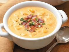 "Pinner says: Cheesy Potato Soup This is one of my go to meals that my children NEVER turn down. I have a super easy 30 minute recipe for us ""on the go"" Moms! I've been dying for some Cheesy Potato Soup(: Think Food, I Love Food, Good Food, Yummy Food, Tasty, Soup Recipes, Great Recipes, Cooking Recipes, Favorite Recipes"