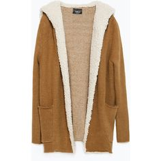 Zara Short Coat ($50) ❤ liked on Polyvore featuring outerwear, coats, jackets, sweaters, dark camel, camel coat, short coat, brown coat and zara coat