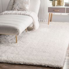 nuLOOM Handmade Soft and Plush Dream Shag Ivory Rug (7'6 x 9'6) (Ivory), Size 8' x 10' (Polyester, Solid)