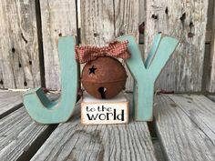 Joy to the world jingle bell wood block set hand by jodyaleavitt