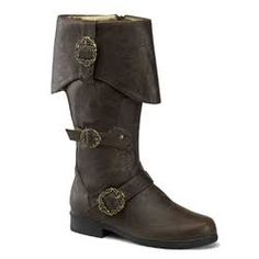 Brown Buckle Boots, Brown cuffed knee boots with octopus buckles and inner zipper. Renaissance Boots, Medieval Boots, Medieval Knight, Renaissance Clothing, Gothic Clothing, Renaissance Fair, Pirate Steampunk, Steampunk Shoes, Riding Boots
