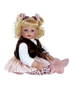 Donning a pastel pink skirt, chocolate brown faux fur best and leopard print leggings, this doll is ready for any adventure! Little darlings will delight at the highly detailed features that are crafted with the utmost attention and affection.