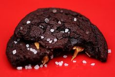 Chocolate Caramel Cookies with Sea Salt Recipe Desserts with all-purpose flour, baking soda, salt, butter, unsweetened cocoa powder, granulated sugar, brown sugar, plain yogurt, vanilla extract, rolls, caramels, sea salt