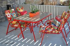 Share Tweet Pin Mail Refurbished patio set Spray paint has become one of my best friends! When Hubby and I got married he had ...