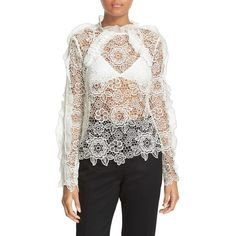 Women's Self-Portrait Floral Lace Top ($410) ❤ liked on Polyvore featuring tops, white, ruffle top, flower print tops, white embellished top, floral lace top and flounce tops
