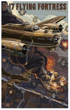 "http://paullanquist.com/portfolio/b-17#  ""The B-17 was the American bomber of World War II. This poster is one of a series of posters that I designed for the Boeing Museum of Flight. Here I show the planes heading for home after the target has been hit. It was by no means certain that they would make it back to base. The planes would try to climb as high as possible to avoid enemy fighters and anti-aircraft fire in order to increase the odds of their survival."""