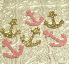 Nautical anchors pink and gold glitter confetti birthday party baby shower gender reveal wedding invitations table decoration