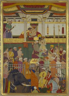 Master: The Padshahnama Item: Jahangir receives Prince Khurram on his return from the Mewar campaign (19 February 1615) Mughal Miniature Paintings, Mughal Paintings, Islamic Paintings, Oil Paintings, Ancient Indian Paintings, Ancient Art, The Royal Collection, Mughal Empire, Indian Artist