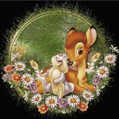 How cute is this Bambi and Thumper piece? Disney Pixar, Disney Cartoon Characters, Arte Disney, Disney Animation, Disney Magic, Disney Art, Betty Boop, Bambi And Thumper, Bambi 3