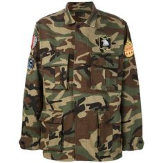 Saint Laurent Camouflage Military Jacket ($1,890) ❤ liked on Polyvore featuring men's fashion, men's clothing, men's outerwear, men's jackets, green, mens military style jacket, mens camouflage jacket, mens cotton jacket, mens military field jacket and mens camo jacket