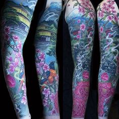 Read Complete Amazing Colorful Japanese Temple With Foo Dog Tattoo On Left Full Sleeve