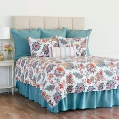 C&f Home Aurora Twin Quilt Set In Blue - Add a Bohemian flair to your bedroom with the C&F Home Aurora Quilt Set. The lively bedding is decked out in bold flowers in a bright color palette of Aegean, fuchsia, navy, gold, and coral on a crisp white ground. King Quilt Sets, King Size Quilt, Queen Quilt, Ruffle Bedding, Quilt Bedding, Linen Bedroom, Bedroom Decor, Bedroom Ideas, Master Bedroom
