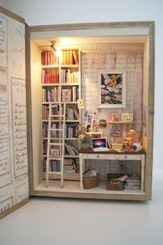 Secret Office by Atelier Vanilla, idea for filling fake books, put shelving inside for structure