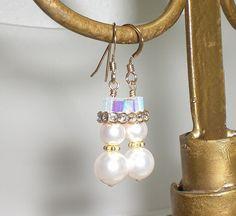 Snowman Crystal Rhinstone Pearl 14K GF Earrings Made With Swarovski Elements