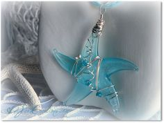Aqua Starfish Glass Necklace  WireWrapped by A2SeaCreations, $35.00