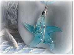 Aqua Starfish Sea Glass Necklace