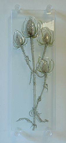Glass- Teasels and honesty wall plaque
