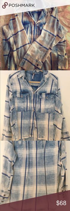 """Free People XS Vintage Plaid Boyfriend Shirt New without tags. Free People Vintage Plaid. Size XS but an oversized """"Boyfriend"""" fit. 100% Cotton and has a worn-in look although it is new. Adorable but I just never got around to wearing it. Free People Tops Button Down Shirts"""