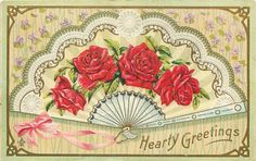 Ladies Fold Fan Red Roses on Lace Scallops~Lilacs on Mint~Gold Leaf Emb~242 F | eBay