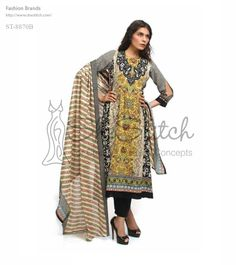 Price: $12 - Shariq Textiles presents Shariq Libas ST-8870B black, yellow, fawn, and multicolor combinational printed Lawn shirt.