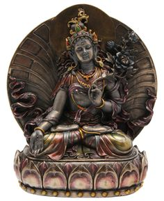 The White Tara, goddess of mercy and compassion, is sacred in Tibet. This cold-cast bronze and resin statue is hand painted in beautiful jewel tones. Buddha Buddhism, Buddhist Art, Albania, Green Tara, Red Green, Chakra, Mystical Forest, Lotus Pose, Les Themes