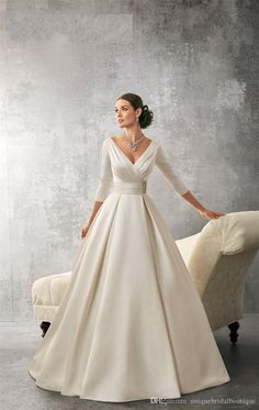 Wedding Dresses 2016 Ronald Joyce With Deep V Neck And Sexy Back Ruched Ivory Satin Plus Size Bridal Gowns Custom Made Designer Ball Gowns Discount Designer Wedding Dresses From Uniquebridalboutique, $141.81| Dhgate.Com