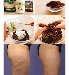 EASY DIY CELLULITE ALL NATURAL BROWN SUGAR  HONEY COFFEE SCRUB This is a GR8 way to beat cellulite as well as soften smooth your skin. It works on men too!! ■ Brown Sugar  Honey Coffee Scrub ■ Mix 1 cup brewed coffee grounds (Let dry for a few hrs) 3/4 cup brown sugar 2 Tablespoon raw honey Blend with enough carrier oil ie Sweet Almond, Olive, Coconut oil etc to make a paste approx 1/4 cup. Keep in an airtight container  use 1x per wk for smoother more radiant softer skin.