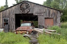 Double hitter!    Wonderful old barn with a wonderful old truck
