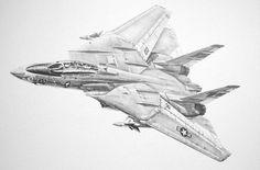 Aviation art, F14 Tomcat, Pencil