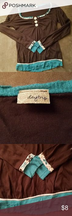 Daytrip blouse Lightweight brown and teal daytrip blouse Daytrip Tops Blouses
