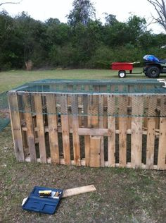 Ash...for your chickens! Recycled wooden pallets, moveable chicken coop.