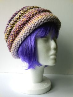 Ladies Chunky Pastels Hand Knitted Beanie Hat (warm, autumn, winter, spring) - pinned by pin4etsy.com