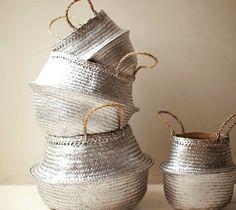 Upgrade basic straw baskets with metallic spray paint.