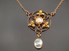 Arts & Crafts Lavalier Necklace in 9k Gold by BelmontandBellamy