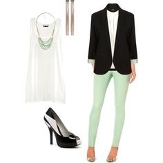 Just got these mint green skinnies from The Limited, pairing them with a white tank and black blazer to go out! Can't wait!!!