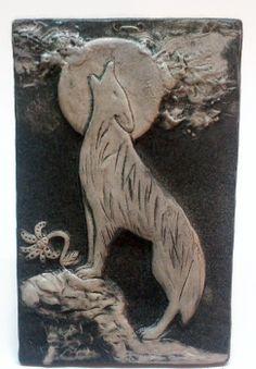 Wolf sculpture wall animal art night tile fantasy dark ceramic decoration ceramic moon by VioletartCeramics