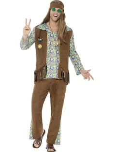 Buy your hippie costume for men from the Halloween Spot. It is a multi-coloured hippie costume with Trousers, Top, Waistcoat, Medallion & Headband. Hippie Look, Hippie Men, Up Halloween Costumes, Halloween Costume Accessories, Halloween Fancy Dress, Adult Halloween, 1970s Costumes, Halloween Party, 70s Outfits