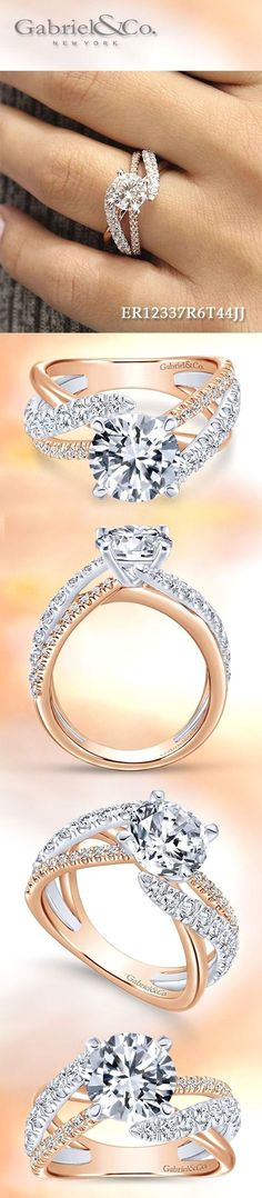 Gabriel & Co. - Voted #1 Most Preferred Fashion Jewelry and Bridal Brand. Meet Zaira 14k White/Rose Gold Round Free Form Engagement Ring #DazzlingDiamondEngagementRings