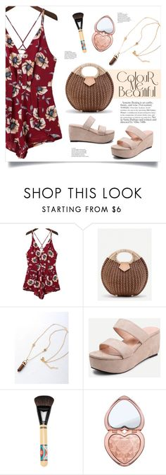 """""""Floral Playsuit"""" by mahafromkailash ❤ liked on Polyvore featuring Too Faced Cosmetics"""