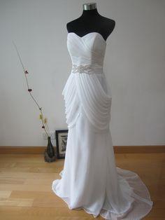 Grecian Mermaid Style Chiffon Wedding Dress. $250.00, via Etsy.