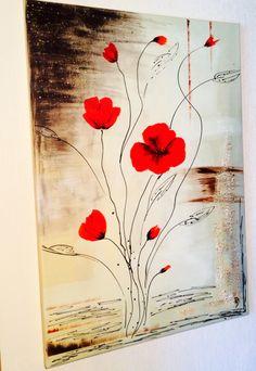 tableau abstrait,boutons et fleurs de coquelicots( toile de 0,50x0,70cm) VENDU http://www.alittlemarket.com/boutique/peinture_crea-276258.html