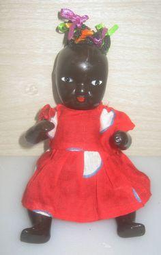 Vintage Black Americana Black Bisque Doll NEAR MINT  $55