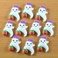 10 pcs Resin Ghost Girly Boo w/ Pumpkin Halloween Party Flatback Hair Bow Crafts