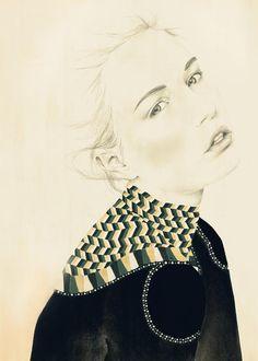 Dibujado de moda 5 x 7, 2011 - imprimir    Impresión de una ilustración original lápiz, carbón de leña & aguazo inspirado en una foto de un