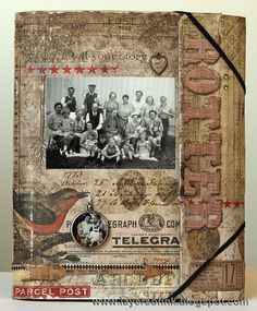 Layers of ink - Family Folio Tutorial by Anna-Karin, made for Tim Holtz Media Team, using Tim Holtz Idea-ology, Sizzix and Stamper's Anonymous products. Lots of interactive details.