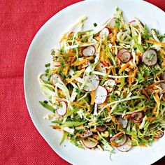 Powerfood Summer Coleslaw: small head cabbage, carrots, snow peas, radishes, scallions, hazelnuts, parsley, poppy seeds, lemon juice, extra-virgin olive oil. | health.com