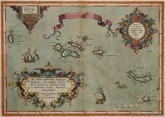 Abraham Ortelius Azores (Amsterdam, 1584) Ortelius's Azores map has three cartouches and a ribbon title, turning a document of relatively little information into an artwork. Columbus, returning from his first voyage, visited Insula S. Maria (lower right). Photograph by Paul Mutino.