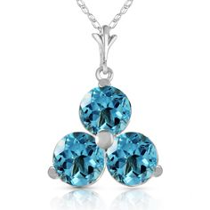 Blue Topaz Trinity Pendant Necklace 0.75ctw in 9ct White Gold #Gemstones #Jewellery #GemstoneJewellery