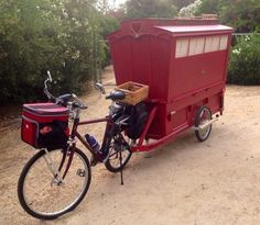 SO COOL  I dont even know where to pin this.  Living in a shoebox | Artist built a micro gypsy wagon you can tow with your bike